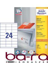 Etikett AVERY 3664 70x33,8 mm fehér univerzális 2400 címke/doboz 100 ív/doboz