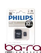 MEMÓRIA KÁRTYA MicroSDHC PHILIPS CLASS10 32GB + ADAPTER
