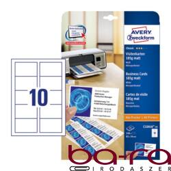 Névjegykártya AVERY C32010-25 mikroperforált él kétoldalas matt fehér él 185gr 250 címke/csomag