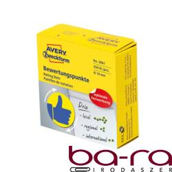 Etikett AVERY 3861 öntapadó jelölőpont adagoló dobozban kék hüvelykújj sárga alpon mintás 19mm 250 jelölőpont/doboz