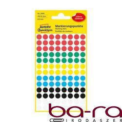 Etikett AVERY 3008 öntapadó jelölőpont vegyes 6 szín 8mm 416 jelölőpont/csomag
