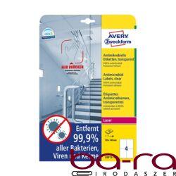 Etikett AVERY L8013-10 105x148mm antimikrobiális átlátszó 40 címke/doboz 10 ív/doboz