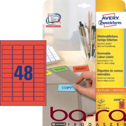 Etikett AVERY L6038-20 45,7x21,2mm univerzális visszaszedhető piros 960 címke/doboz 20 ív/doboz