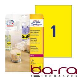 Etikett AVERY L6006-25 210x297mm laser neon sárga 25 címke/doboz 25 ív/doboz
