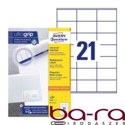 Etikett AVERY 3481 70x41mm univerzális univerzális fehér 2100 címke/doboz 100 ív/doboz
