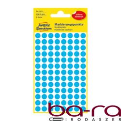 Etikett AVERY 3011 jelölőpont 8mm kék 416 db/csomag