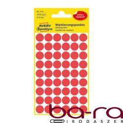 Etikett AVERY 3141 jelölőpont 12mm piros 270 db/csomag