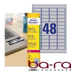 Etikett AVERY L6009-20 45,7x21,2mm laser ezüst 960 címke/doboz 20 ív/doboz