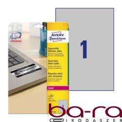 Etikett AVERY L6013-20 210x297mm laser ezüst 20 címke/doboz 20 ív/doboz