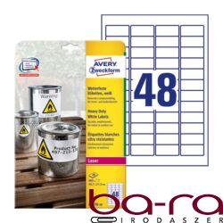 Etikett AVERY L4778-20 45,7x21,2mm időjárásálló poliészter laser 960 címke/doboz20 ív/doboz