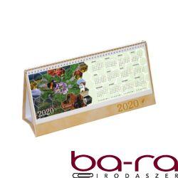 Asztali naptár képes Csízió álló fehér lapos idézetes PVC hátlap drapp 2020.