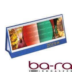 Asztali naptár képes Csízió álló fehér lapos idézetes PVC hátlap kék 2019.