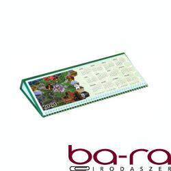 Asztali naptár képes Csízió fekvő fehér lapos idézetes PVC hátlap zöld 2020.