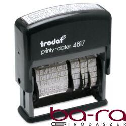 Bélyegző dátum+szöveg TRODAT Printy 4817 12 féle szöveggel fekete ház fekete párna