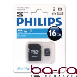 MEMÓRIA KÁRTYA MicroSDHC PHILIPS CLASS10 16GB + ADAPTER